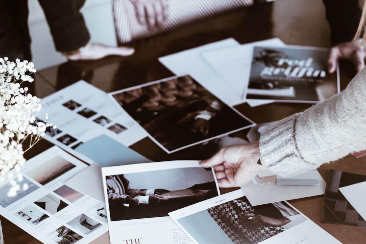 Team choosing ideas for client branding