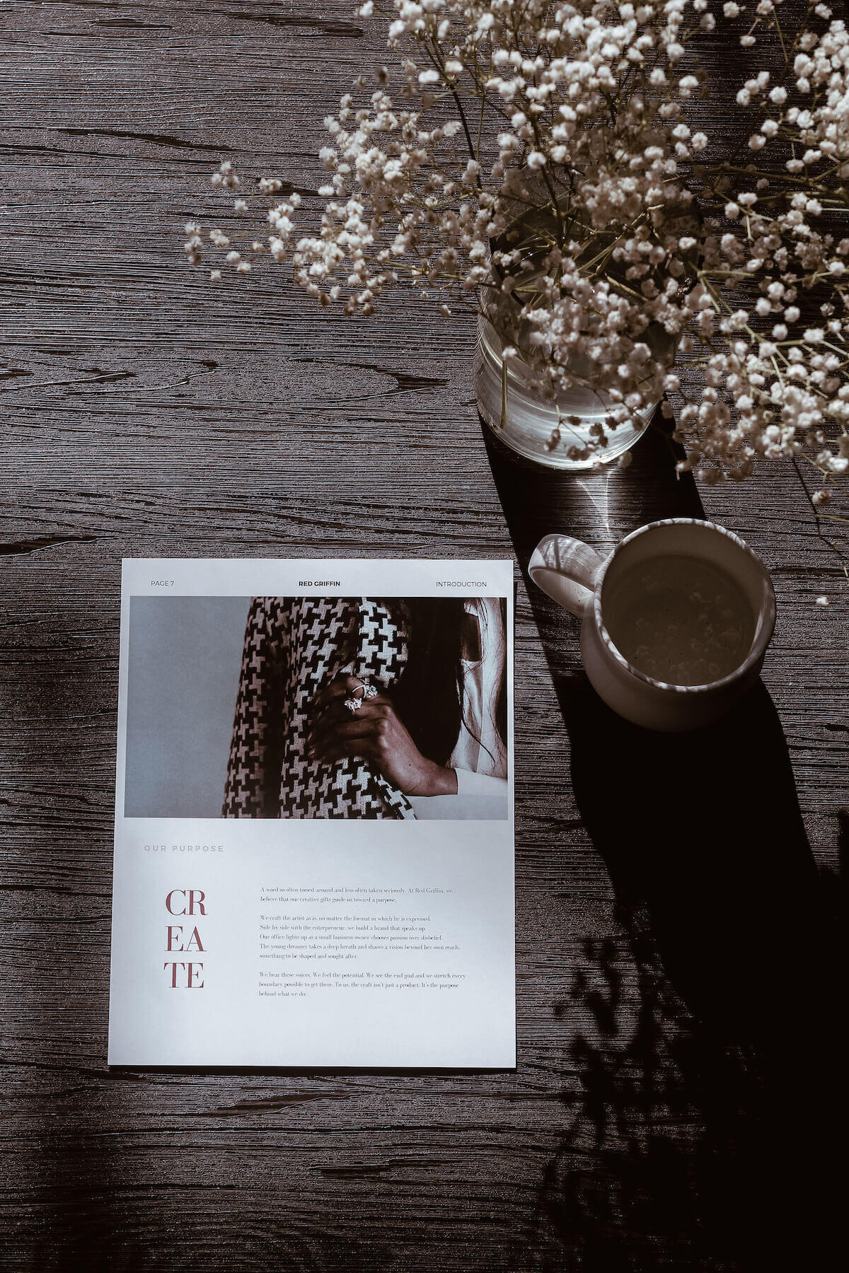 create page with coffee and flowers