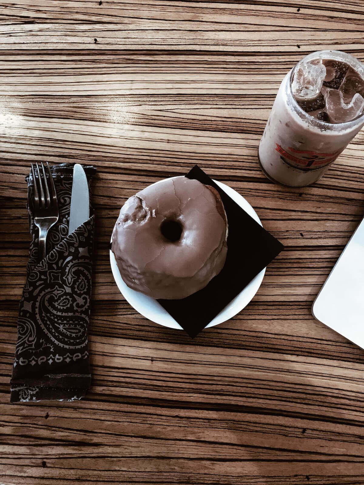 Iced Coffee and Chocolate donut