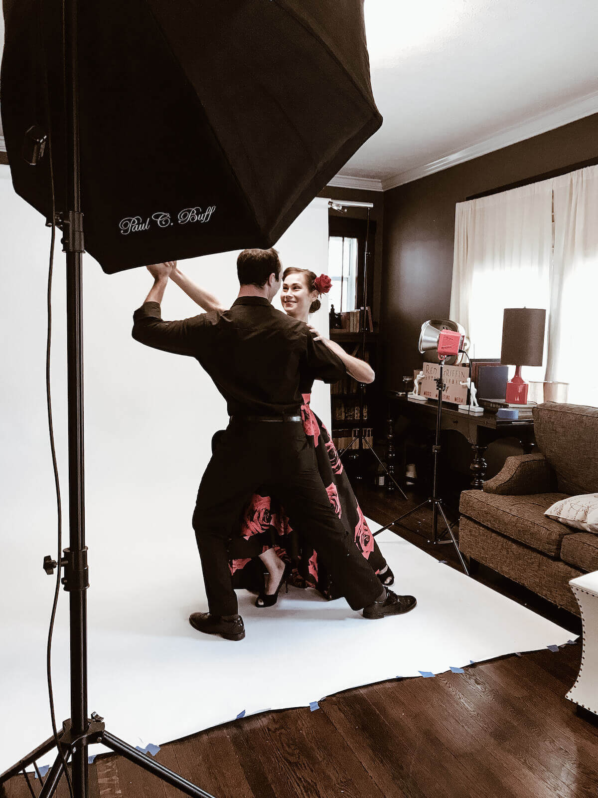 photo shoot of couple dancing